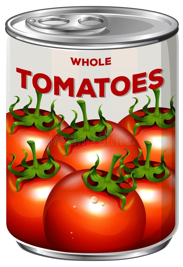 Pouvez des tomates entières illustration stock