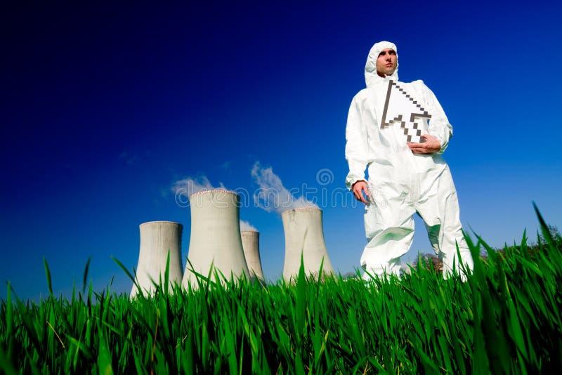 pouvoir de centrale nucléaire d'homme image libre de droits