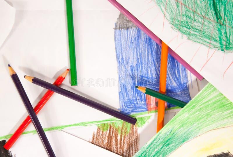 Pouvoir de fleur - crayons image stock
