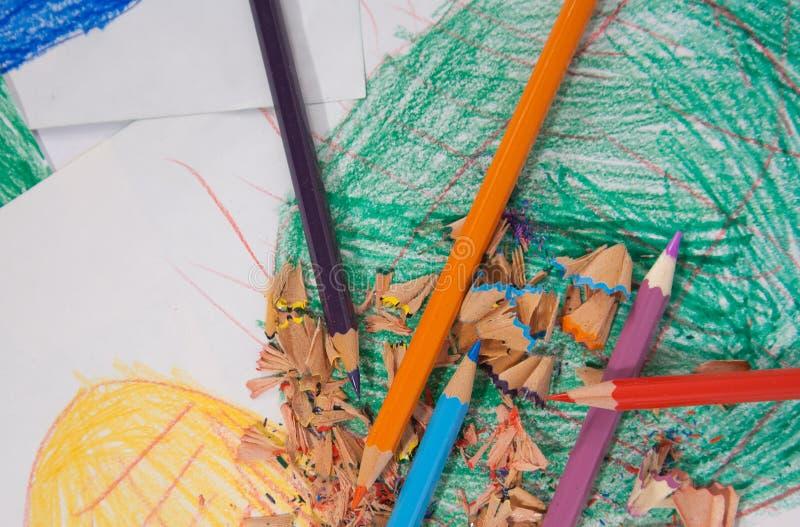 Pouvoir de fleur - crayons photo stock