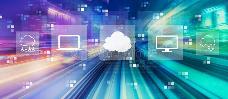 计算与高速行动迷离的云彩 库存例证
