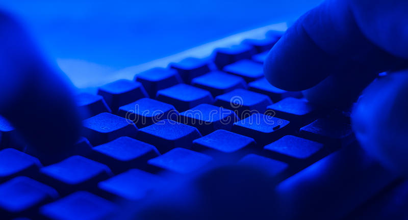POV cyber hacker attacks. Hands typing on pc desktop computer keyboard. Cyber hacker attack concept stock photos