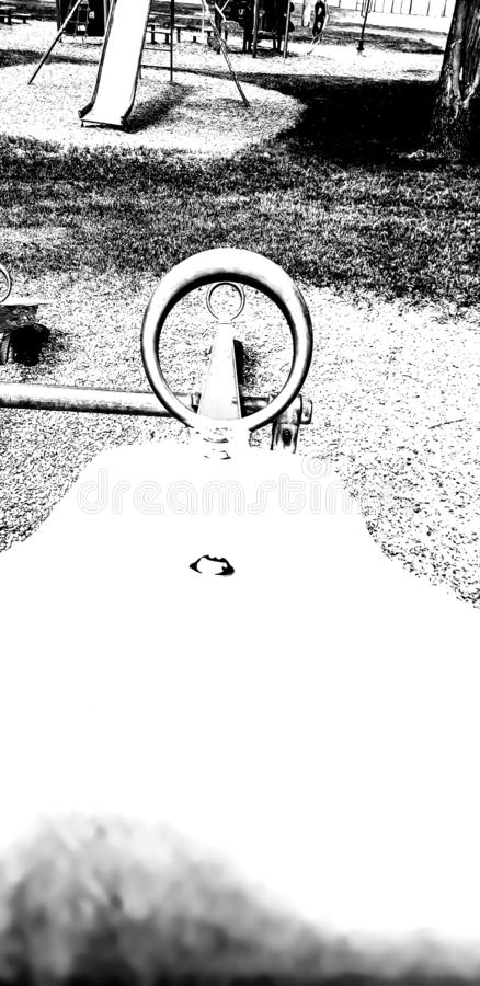 POV parc saw  black&white swing stock photography