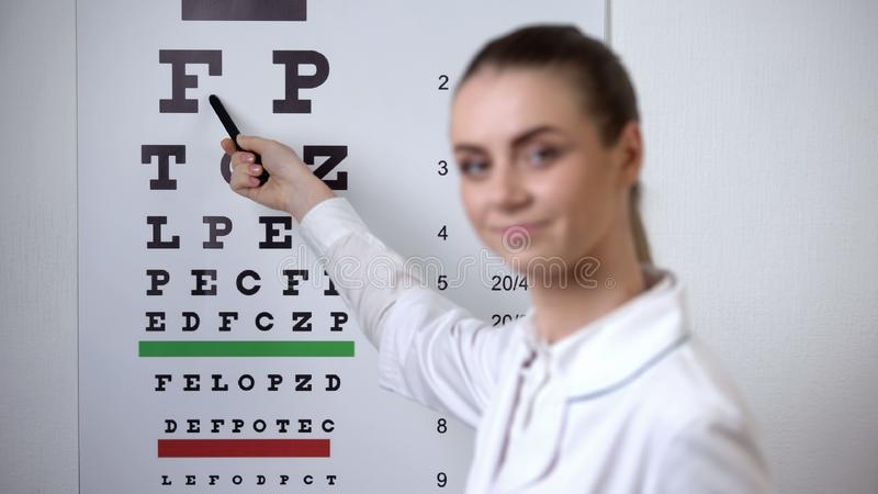 POV patient focusing sight on eye chart, doctor confirms successful vision exam. Stock photo stock photo