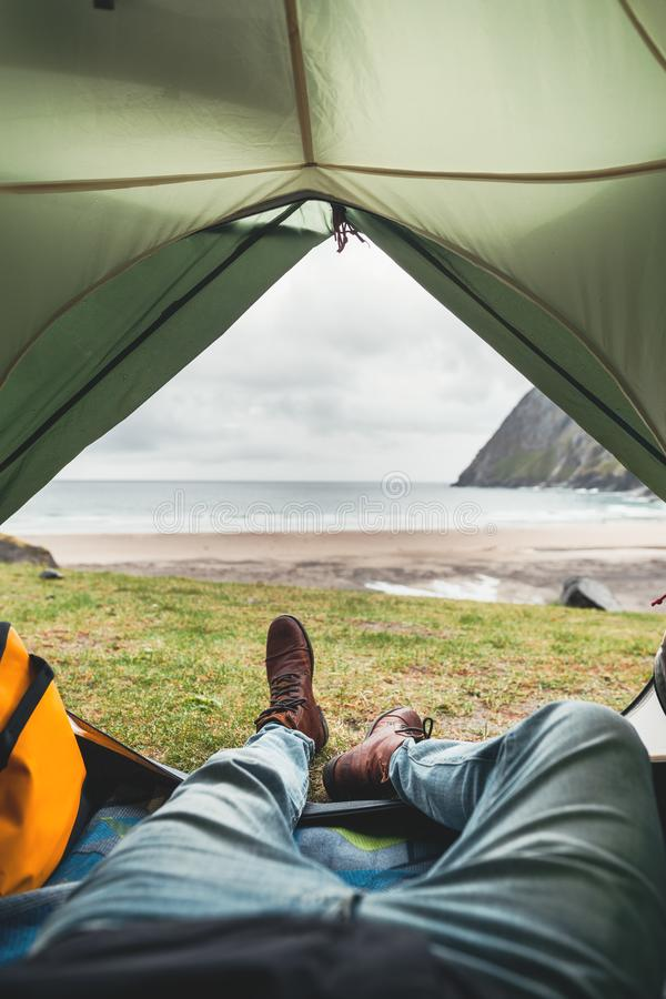 POV from tent. Adventure travel in authentic scandinavian wilderness royalty free stock image