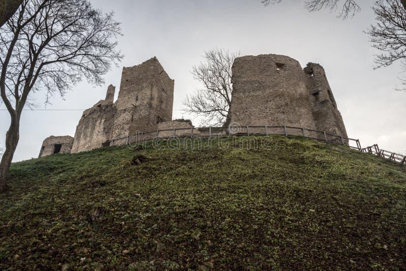 Povazsky hrad castle ruins in Slovakia. Povazsky hrad castle ruins above Povazska Bystrica city in Slovakia during autumn morning royalty free stock photography