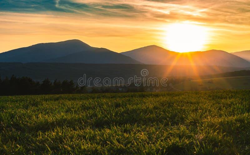 Povazsky Inovec小山在有小村庄的斯洛伐克在日落的谷的 麦田风景照片与绿草的和 库存图片