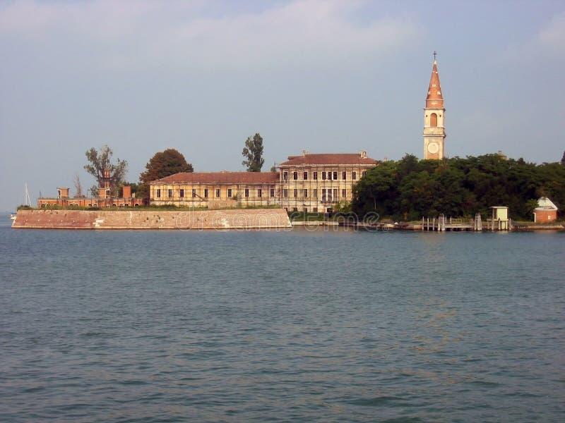 Povella海岛,威尼斯式盐水湖,意大利看法  图库摄影