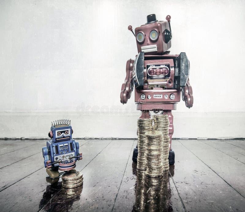 Poveri robot ricchi fotografie stock libere da diritti