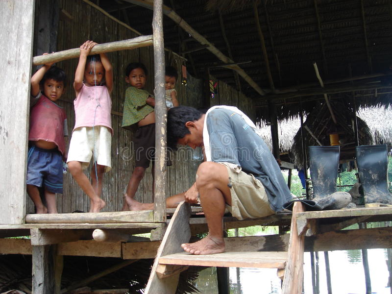 Poverish family. In the amazon royalty free stock images
