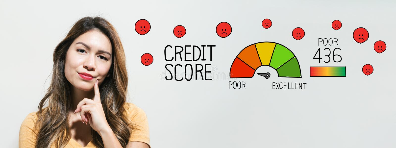 Povero punteggio di credito con la giovane donna fotografie stock