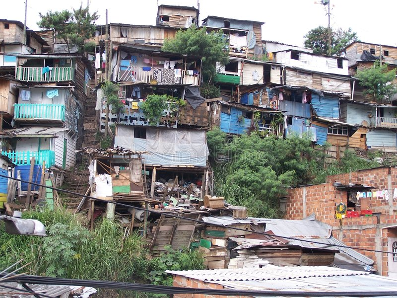 Poverty. Poor district in Medellin. Colombia royalty free stock photos