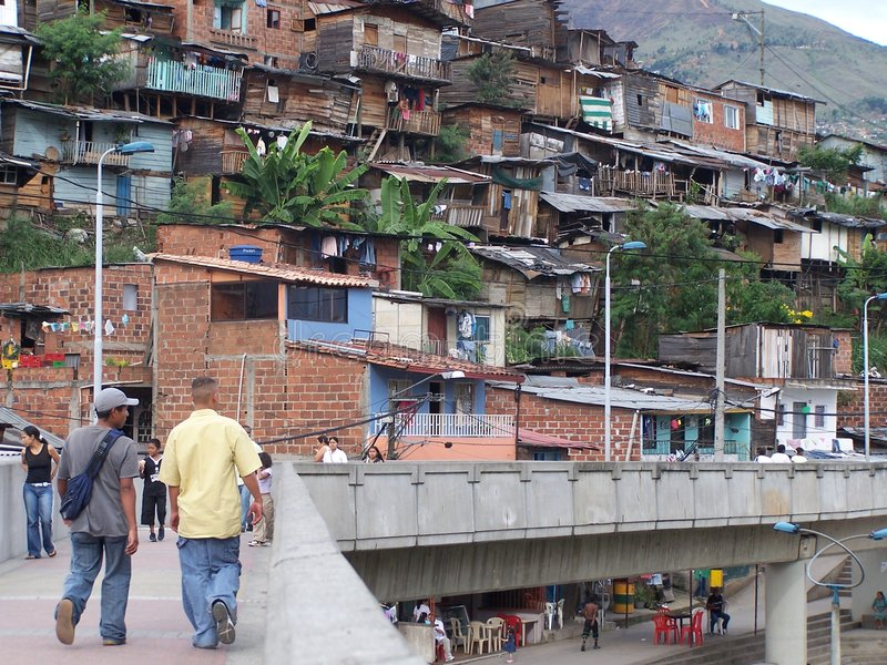 Poverty. Poor district in Medellin. Colombia stock photo
