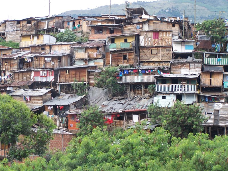 Poverty. Poor district in Medellin. Colombia stock photography