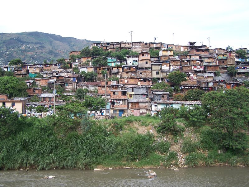 Poverty. Poor district in Medellin. Colombia stock photos