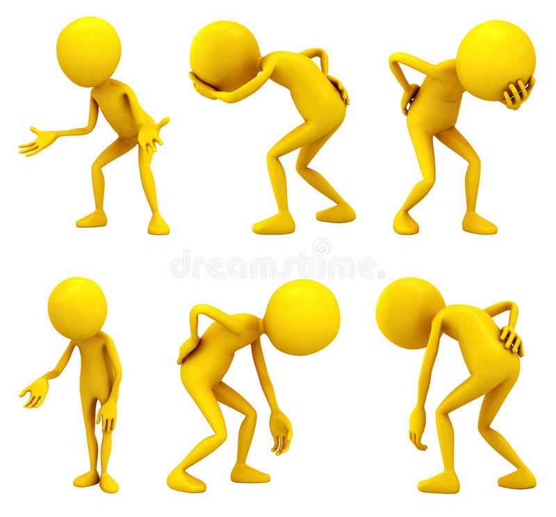 Poverty and disease. Six yellow personages on white background vector illustration