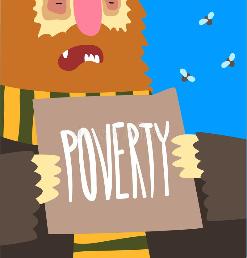 Poverty, social problem, help to homeless people poster banner template vector Illustration. Web design vector illustration
