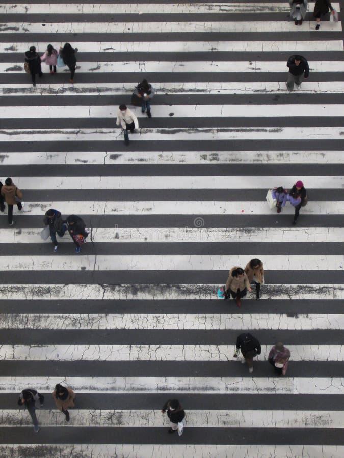 Povo japonês em um cruzamento foto de stock royalty free