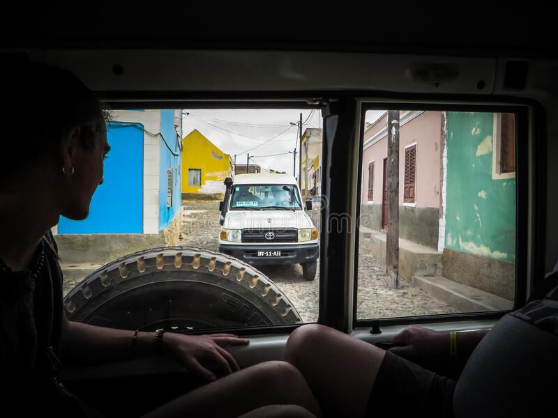 Povoacao Velha, Boa Vista, Cape Verde, Africa - February 9, 2018: View through the rear window of a vehicle royalty free stock photography