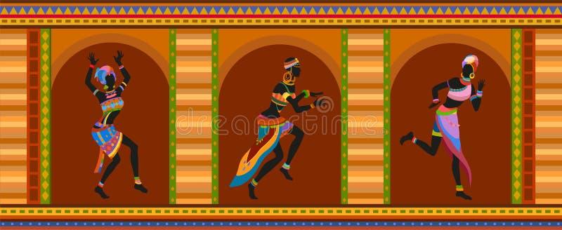Povos étnicos do africano da dança ilustração royalty free