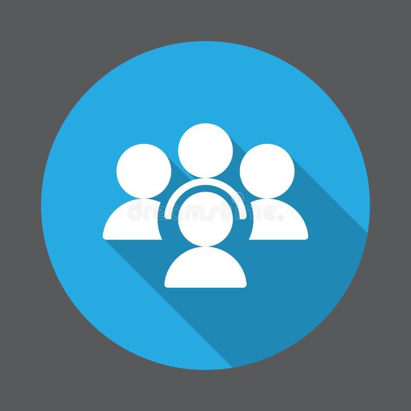 Povos, ícone liso da conferência Botão colorido redondo, sinal circular do vetor com efeito de sombra longo ilustração royalty free