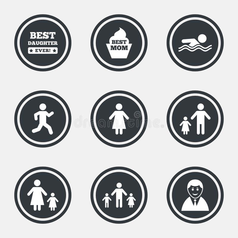 Povos, ícones da família Natação, sinais da pessoa ilustração stock