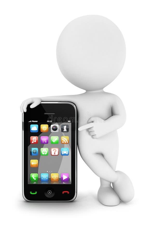 povos 3d brancos com um smartphone