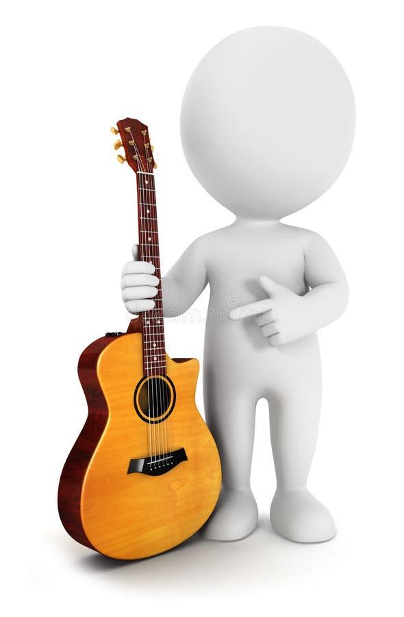 povos 3d brancos com uma guitarra acústica ilustração stock
