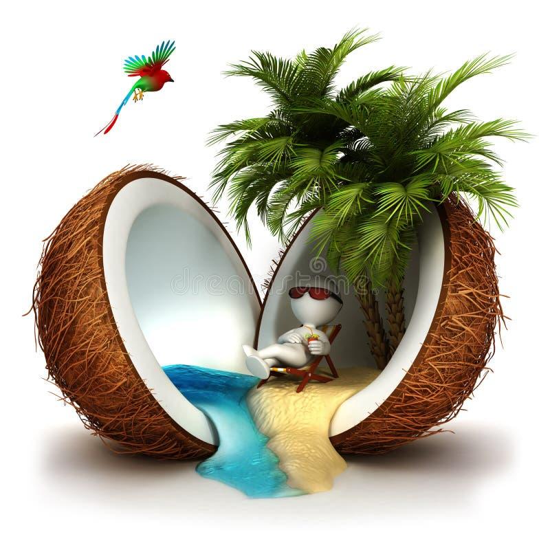 povos 3d brancos em um paraíso do coco ilustração royalty free