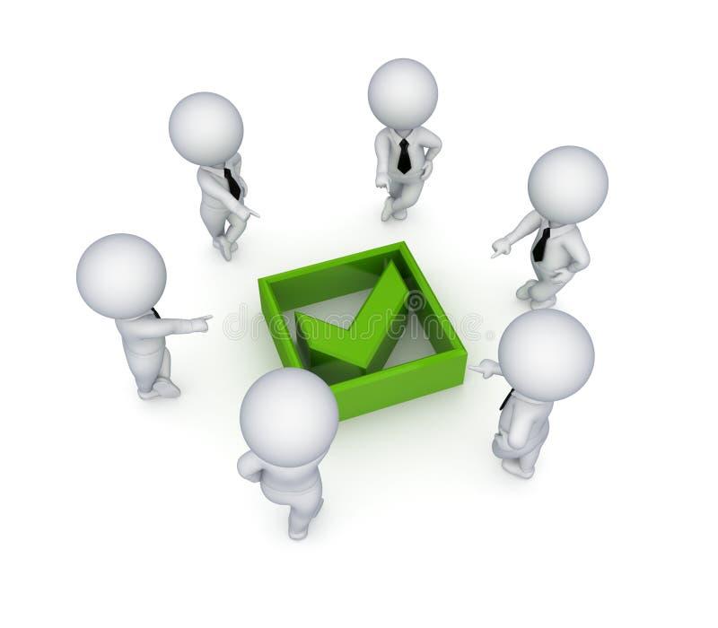 povos 3d pequenos em torno da marca verde do tiquetaque. ilustração stock