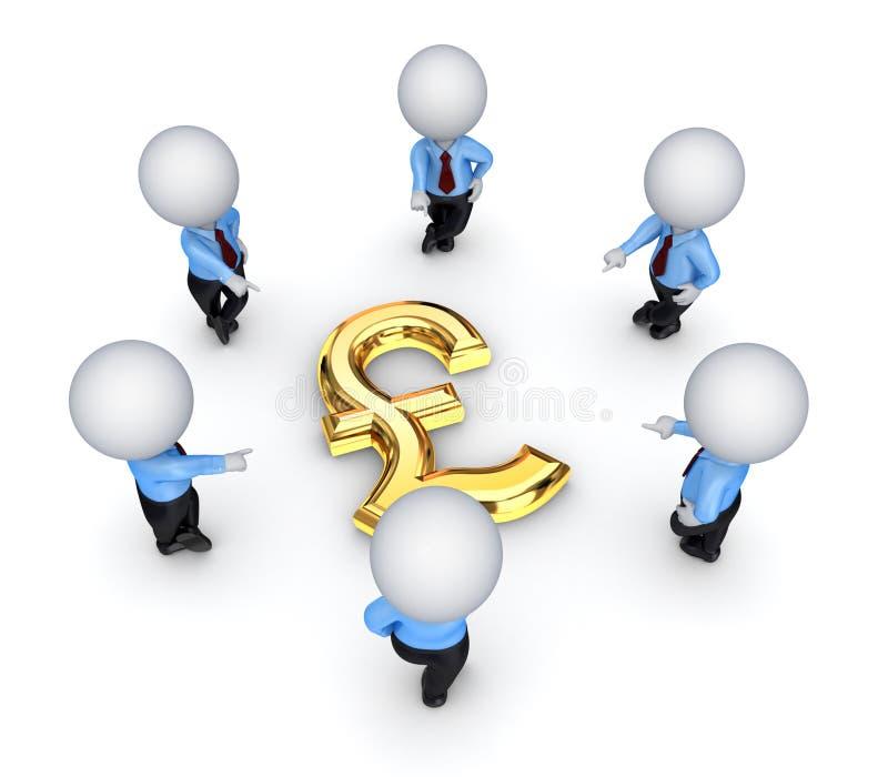 povos 3d pequenos em torno do sinal de libra esterlina. ilustração do vetor