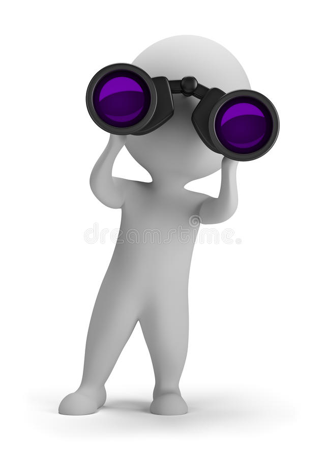 povos 3d pequenos - olhando através dos binóculos ilustração do vetor