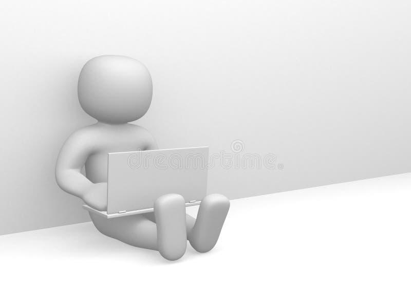 povos 3d pequenos que trabalham no portátil fotografia de stock royalty free