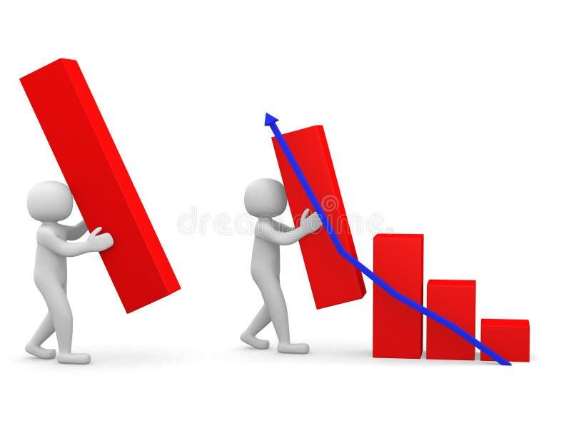 povos 3d - pessoa e conceito do sucesso comercial e do crescimento ilustração stock