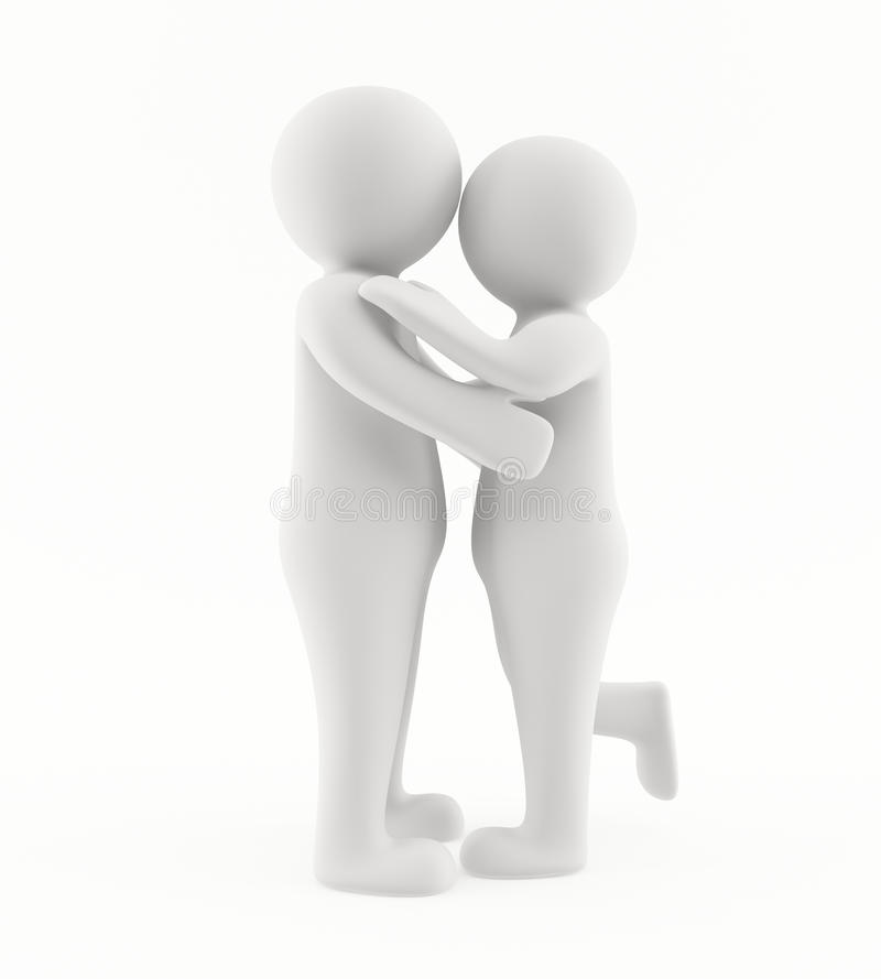 povos 3D que abraçam e que beijam ilustração royalty free