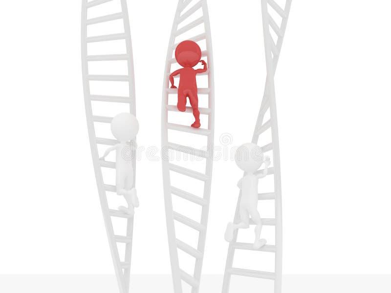 povos 3D que escalam usando uma escada ilustração royalty free