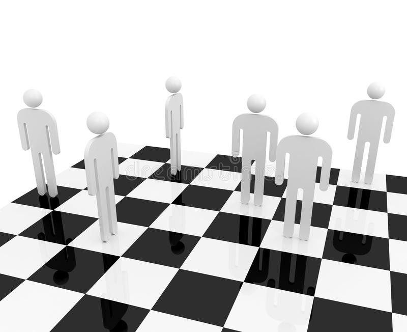 Povos abstratos brancos no tabuleiro de xadrez ilustração do vetor