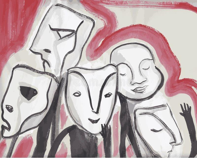 Povos abstratos com máscaras ilustração stock