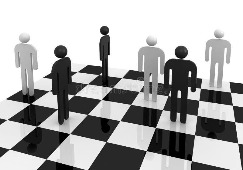 Povos abstratos preto e branco no tabuleiro de xadrez ilustração royalty free