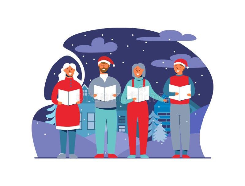 Povos alegres em Santa Hats Singing Christmas Carols Caráteres dos feriados de inverno no fundo nevado Cantores do Xmas ilustração stock
