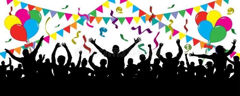 Povos alegres que têm a comemoração do divertimento Multidão de povos do divertimento no partido, feriado ilustração do vetor