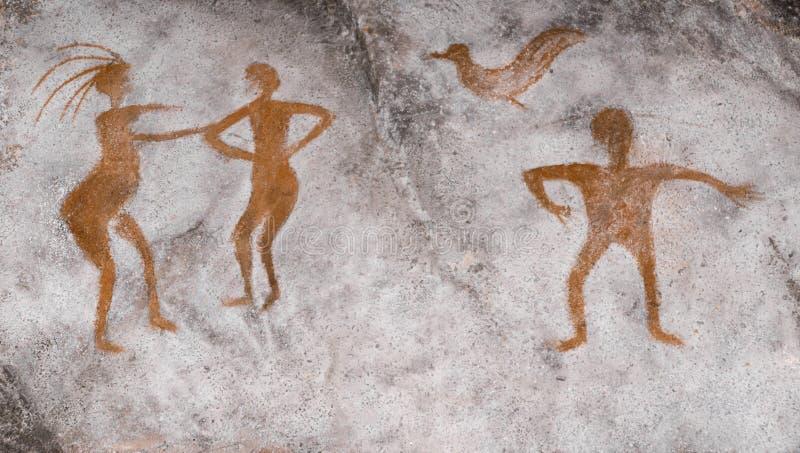 Povos antigos pintados na parede do ocre da caverna ilustração stock