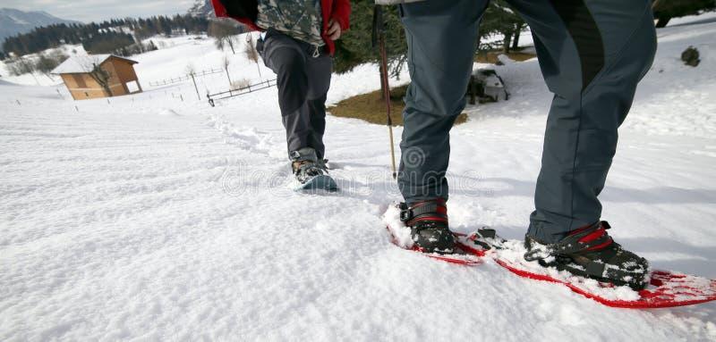 Povos ao snowshoeing nas montanhas foto de stock royalty free