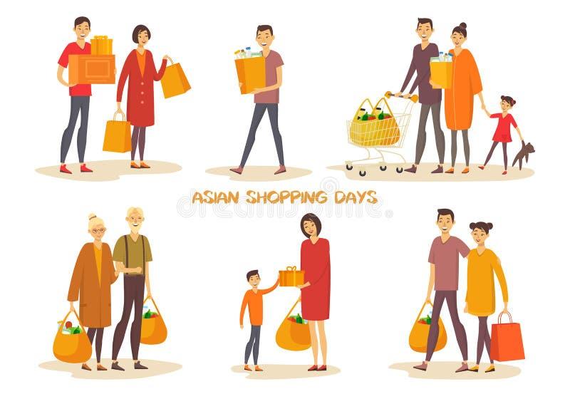 Povos asiáticos ou homem asiático, mulher na compra ilustração royalty free