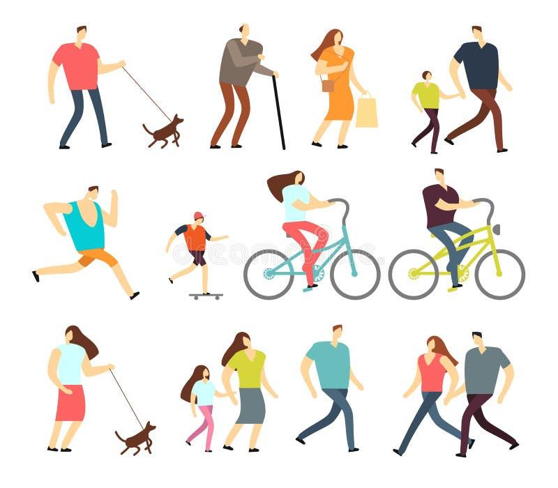 Povos ativos que andam, bicicleta de montada, jogo de caracteres exterior de corrida do vetor ilustração stock