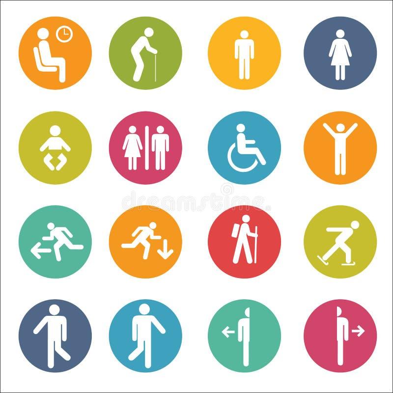 Povos básicos da postura que sentam o pictograma ereto do símbolo do sinal do ícone foto de stock