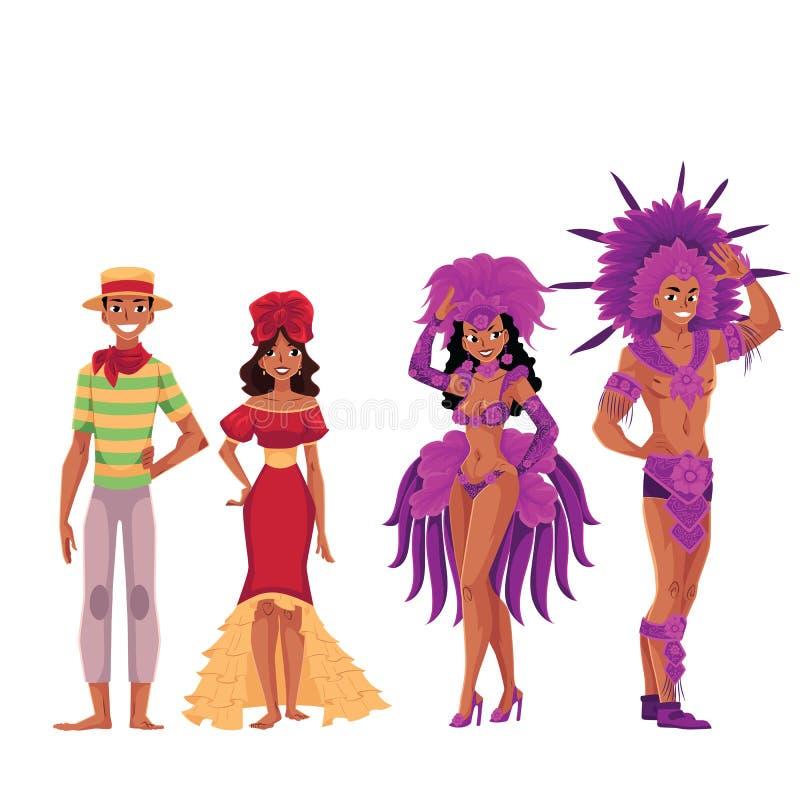 Povos brasileiros em trajes tradicionais para o samba e o carnaval ilustração royalty free