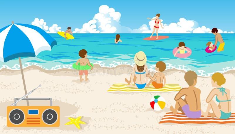 Povos brincalhão na praia do verão ilustração royalty free