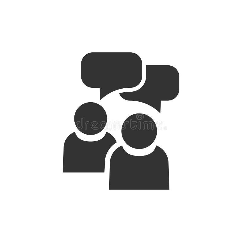 Povos com ícone da bolha do discurso no estilo liso Acordo do negócio ilustração stock