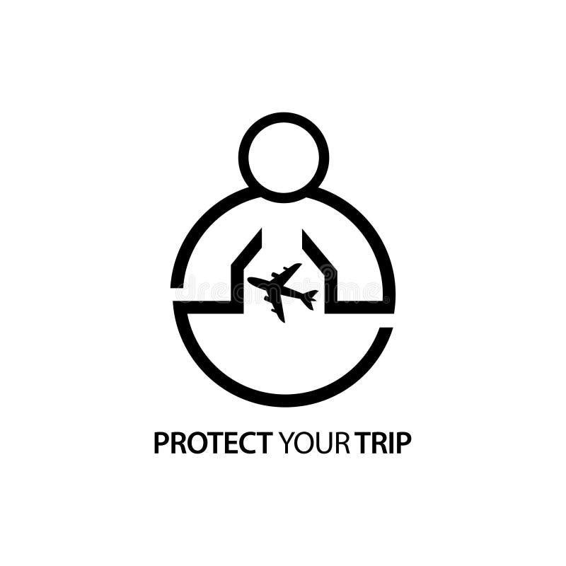 Povos com ícone do avião Conceito do amor sua viagem ilustração do vetor